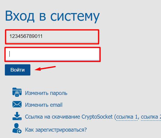 Ввод пароля в кабинет электронных счет-фактур